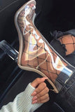 Transparent Zipper Fashion Women Peep Toe Stiletto High Heels Shoes