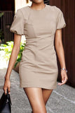 Khaki O-Neck Short Lantern Sleeve Pencil Dress Elegant Women Bodycon Mini Dress Casual Office Lady Vestidos