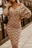 Vintage Women's Striped Midi Dress Sexy Slim Long Sleeve Dresses For Women Elegant Ladies Party Dresses