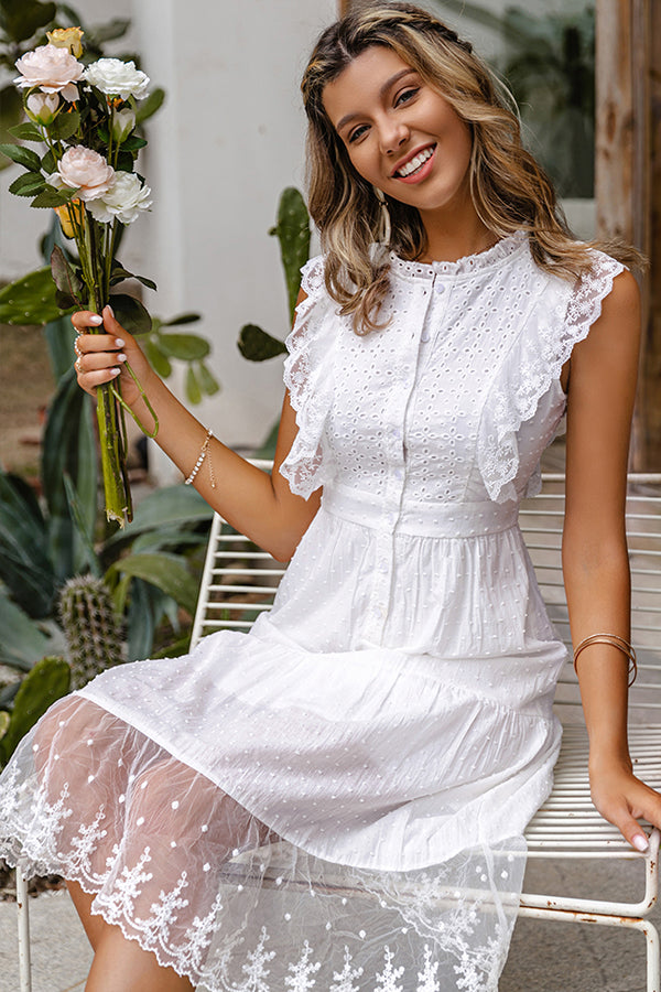 Simplee Elegant ruffle lace white dress women Casual A-line midi dress Vintage Holiday party fashion sleeveless dresses
