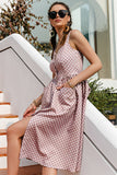 Simplee Casual Polka Dot Dress Sleeveless Holiday style high waist buttoned women's Dress Fashion Mid-length dresses NEW