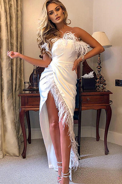 Sexy Party Dress Women Feather Off Shoulder Split Long Dress Night Club Dresses