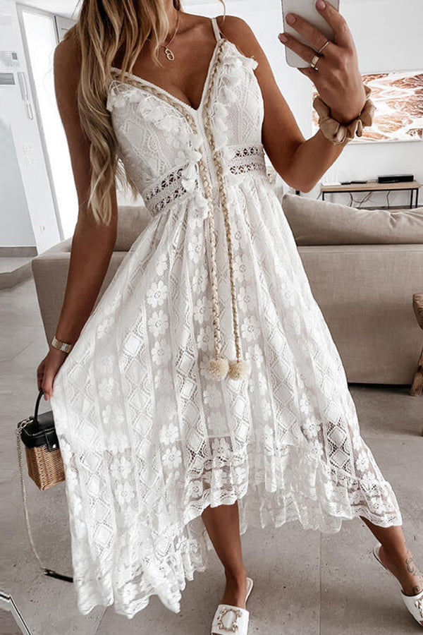 Lady Elegant Sleeveless Strap Party Dress Fashion Tassel V Neck Backless Dresses Women Sexy Crochet Lace Beach Dress