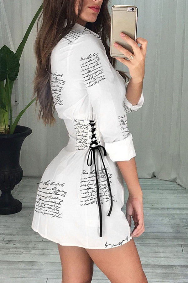 Dresses Women Sexy Long Sleeve Letter Print Fitted Waist A-shaped Frenulum Mini Dress Robe
