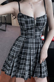 Style Gothic Girls Sexy Vintage Mini Dress Red Balck Pleated Plaid Women Mini Short Dresses Punk Hip Hop Streetwear
