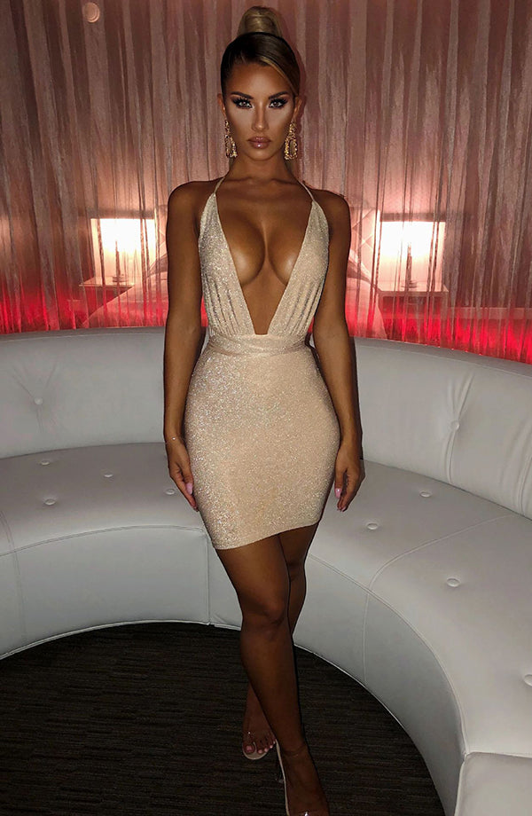 Sexy Backless Glitter Dress Women Deep V Mini Dresses Night Club Party dress