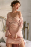 Sexy Nightgowns Women Ice Silk with Chest Pad Gathered Temptation Lace Beauty Back Suspender Nightdress Dropshipping