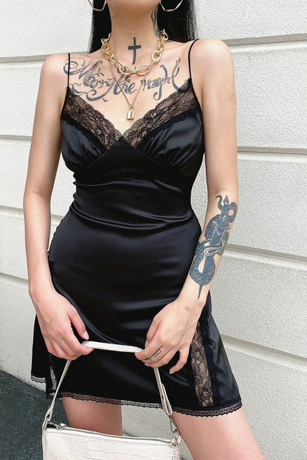 V Neck Satin Strap Sexy Black Dress Women Lace Patchwork Backless Dress Mini Side Split Ladies Dresses