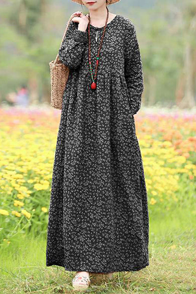 Fashion Floral Dress Women's Sundress Casual Long Sleeve Maxi Female Hollow Printed Robe Plus Size