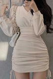 Woman Dress Long-Sleeved Dress New V-neck Vestido De Mujer