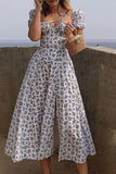 Dress  Fashion White Elegant Ladies Backless Clothes Puff Sleeve Floral Print Slit Long Dresses For Women New Arrival