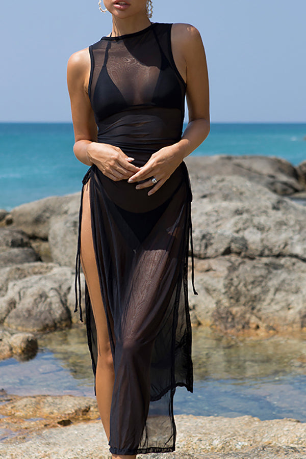 Black 3 pieces set High neck swimwear female swimsuit cover-ups for women Skirts bikini Halter triangle bathing suit
