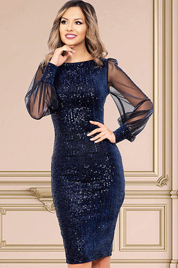 Sexy vintage Glitter Long sleeve Sequin dress women club Pary dresses office bodycon woman dress clothes vestidos
