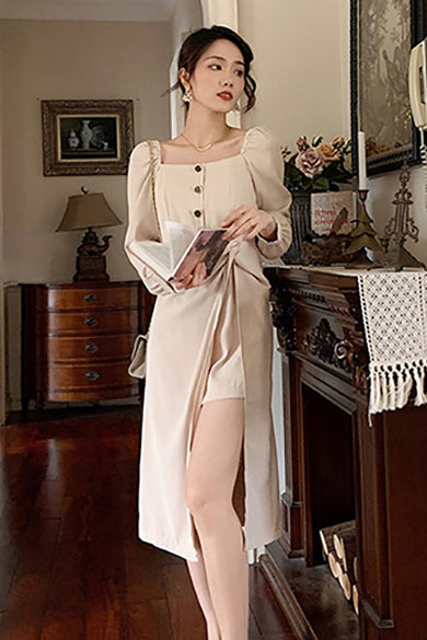 Elegant Dress Women Casual Office Lady Midi Dress Chic Square Collar Long Sleeve Sexy Party One Piece Dress Korean
