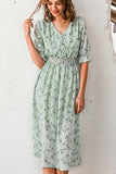 Simplee Women floral print dress Elegant women puff sleeve a line v neck sash dress High waist work wear office lady dress