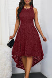 Floral Lace Women Solid Color Sleeveless Irregular Hem Formal Party Midi Dress Women's Sexy Dresses Formal Knee Length Round