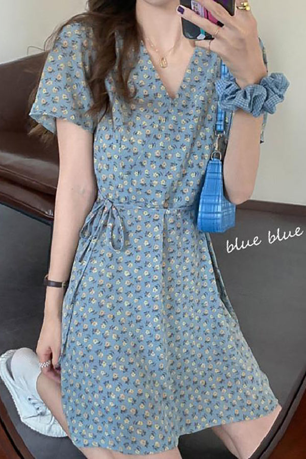 Dresses Women V-neck Floral Bowknot Design Sweet Students Korean Style High Street Femme Cozy All-match Muje
