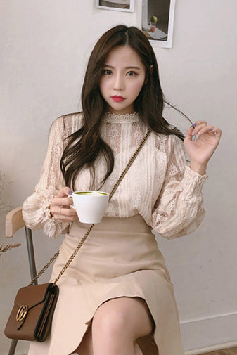 Fashion Ladies Tops Long Sleeve Lace Blouse Shirts for Women Tops Spliced Solid Stand Women Tops Pink
