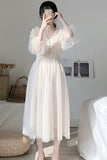 Women Dress Vintage Elegant with Button A-Line Dress Solid Puff Sleeve Lace Voile Mesh Dress Women