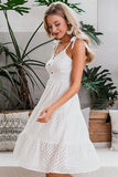Simplee Casual white women beach dress Bow-knot spaghetti embroidery female midi dress backless holiday dress vestidos