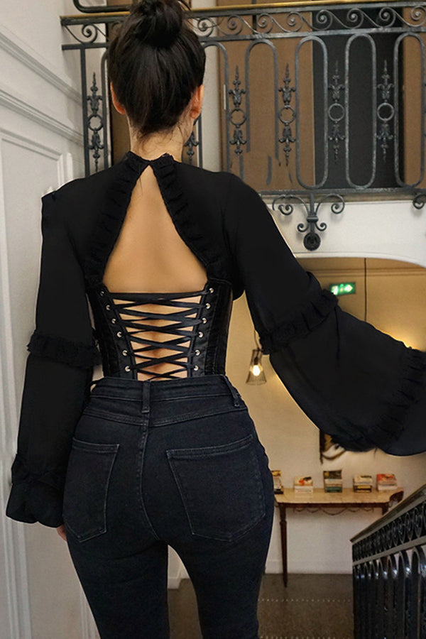 V Neck Elegant Hook Lace Up Shirt Women Corset Splice Fashion Party Bustier Top Backless Blouses Shirts Slim Bodycon