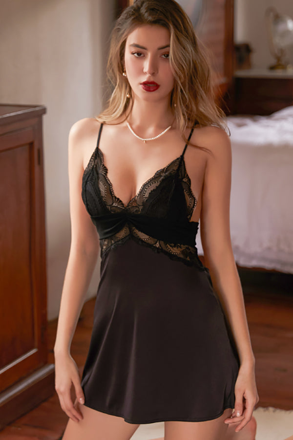 Beauty Back Sleepwear Women Lace Ice Silk Suspender Nightdress Satin Slip Dress Sexy Strap Nightgown