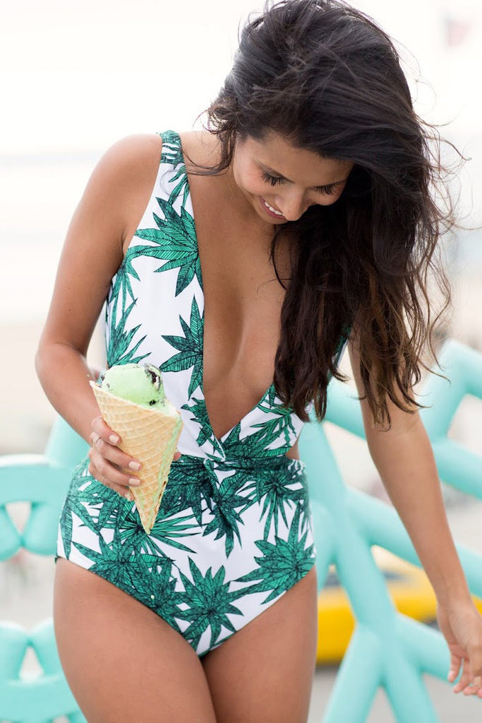 Deep V-Neck Sexy Leaves Print One Piece Swimsuit Swimwear