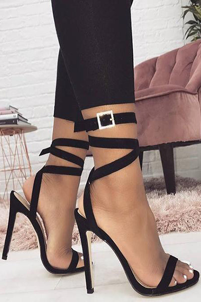 Crisscross Buckle Women Fashion Peep Toe Sandals High Heels Shoes