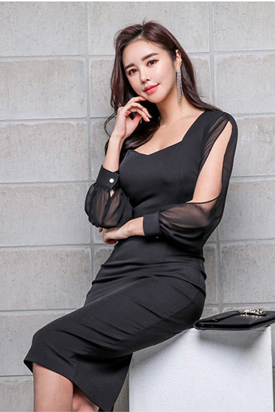 Black Elegant Office Dress High Waist Tight Dress Chiffon Stitching Nine-Point Sleeves Athens Party Women's Dresses