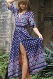 New Floral Print  Long Beach Dress Women Bohemia Sexy Woman Ladies Dress Sundress Robe Femme