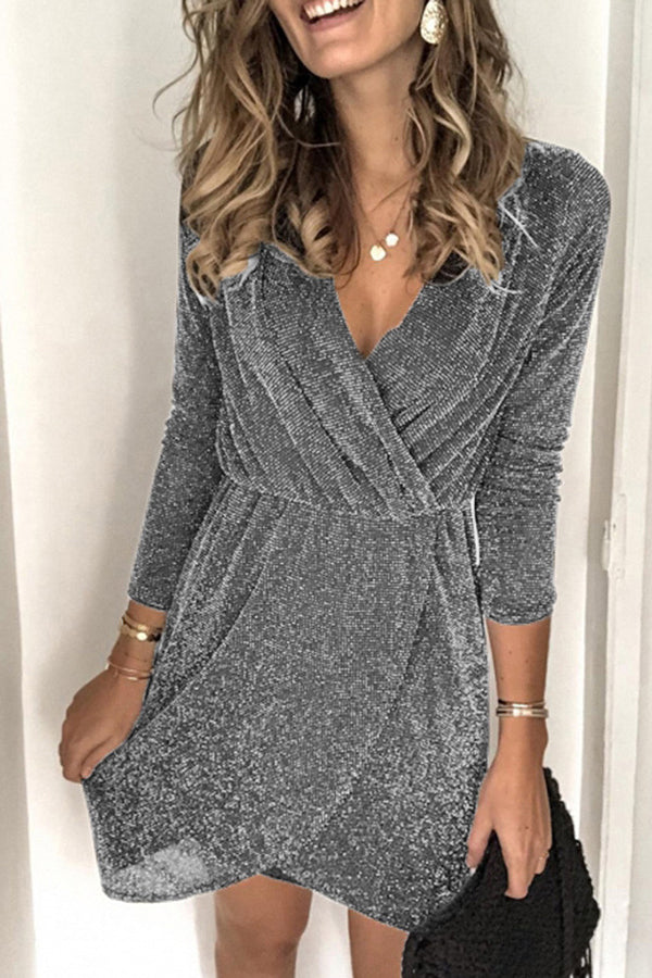 Women Hollow Out V-neck Slit Bodycon Dress  Sexy Sequin Glitter Shiny Mini Dress Long Sleeve Party Dress
