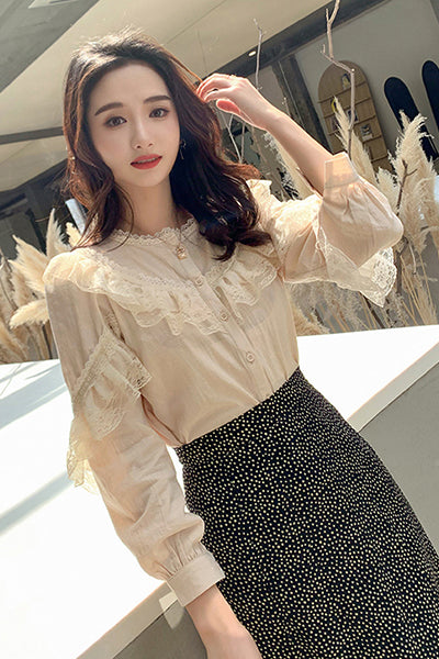Elegant Ladies Tops Women's Tops and Blouses Solid Lace Blouse Button Stand Tops for Women Shirts