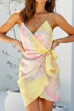 Sexy v-neck tie dye spaghetti strap women dress backless mini dress robe Colorful casual asymmetry slim sundress