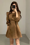 Korea Chic Elegant Light Mature Woman Temperament Retro Waist Slim Round Neck Mini Dress Women Full
