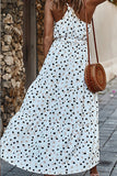 Women Polka-Dot Long Dress Beach Dresses Strapless Casual White Midi Sundress Red Vacation Clothes For Women
