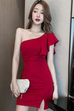 Irregular temperament slim fit bag buttock black bra dress off shoulder sexy nightclub women's wear