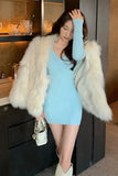 Slim Sexy Party Dress Women Casual Long Sleeve Knit One Piece Dress Korean Evening Elegant Mini Sweater Dress Female