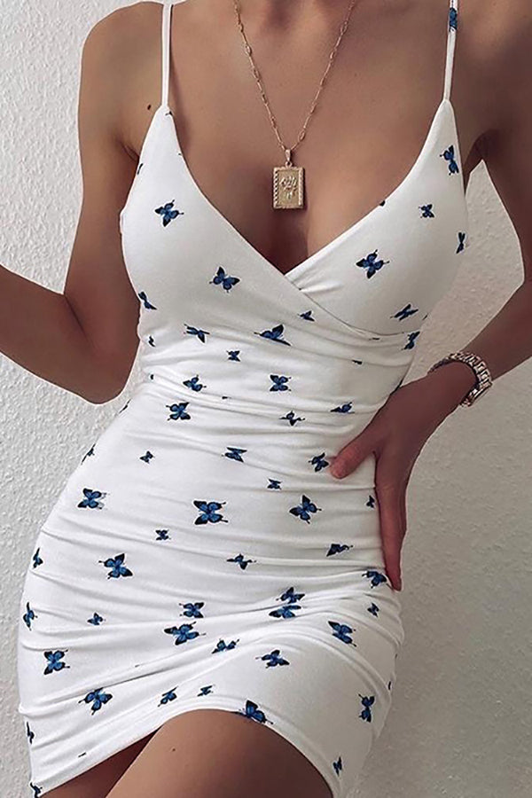 Butterfly Print Fashion Sexy V-Neck Backless Mini Dress Club Party Skinny Short Dresses Women's Clothing
