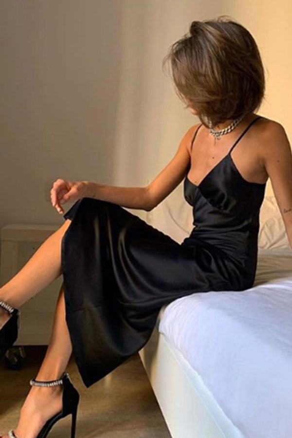 Women Satin Deep V Neck Sexy Dress Solid Straight Pajamas Party Dress Elegant Female Spaghetti Strap Dress Casual