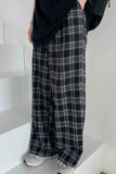 Plaid Pants Women Casual Chic Oversize 3XL Loose Wide Leg Trousers Ins Retro Teens Hip-hop All-match Unisex Streetwear