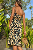 Dress Women Printed Sexy Backless Split Sling Slip Sundress Casual Leopard Black Fitted Strap Clothes