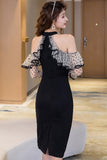 fashion new arrival comfortable off shoulder sexy formal dress perspective sleeves ruffles high quality patchwork pencil dress
