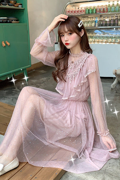 Brand New Women Romantic Tulle Dress Stand Collar Beading Tassels Ruffles Long Sleeve Mesh Dress Cute Mid Dress