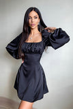 Women Sexy Square Collar Bandage Dress Slim Long Puff Sleeve Pleated Satin Dress Mini Party Club Vestido