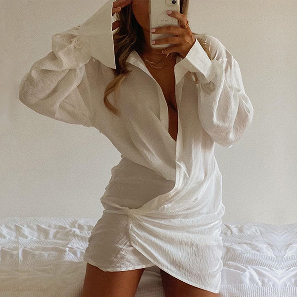Linen Sexy Draped Mini Shirt Dresses Elegant Oversized Dress Wrap Ruched Shirts Dress Fashion Outfits