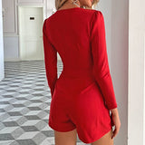 Solid Deep V Neck Playsuits Women Sexy Long Sleeves Night Club Party Romper Female Slim Jumpsuits