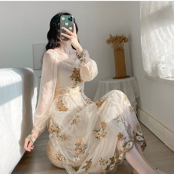 French Floral Embroidery Party Dress Long Sleeve Mesh Embroided Dresses Lantern Sleeve Sweet High Waist Long Dress