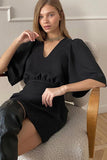 Elegant Short Puff Sleeve Dress Women Casual V Neck Black Mini Dress High Waist Office Lady Dresses