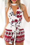 Print Sleeveless Flower Halter Strappy Romper Jumpsuit