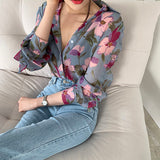 Plus size 3XL New Vintage Women Shirts Print Full Sleeve Loose Chiffon Thin Port Western Style Flavor Blouse Shirt Orange Purple